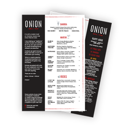 Onion Menu Front page Layout Example